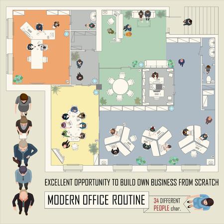 muebles de oficina: ilustraci�n conceptual con la gente de negocios en espacio de oficina