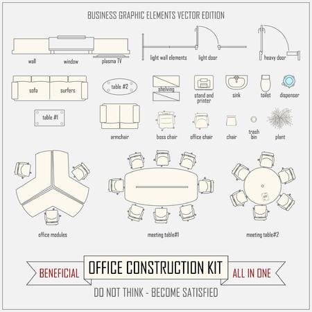 muebles de oficina: dise�o de oficina y equipo de construcci�n vector de dise�o