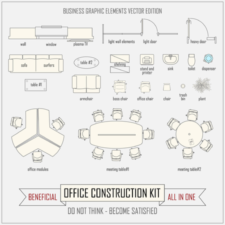 drawing room: office design and layout vector construction kit