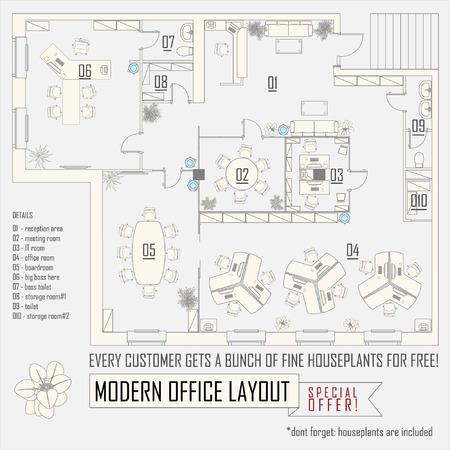 dessin au trait: bureau moderne aménagement intérieur de vecteur avec des meubles