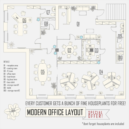 interior drawing: modern office interior vector layout with furniture Illustration