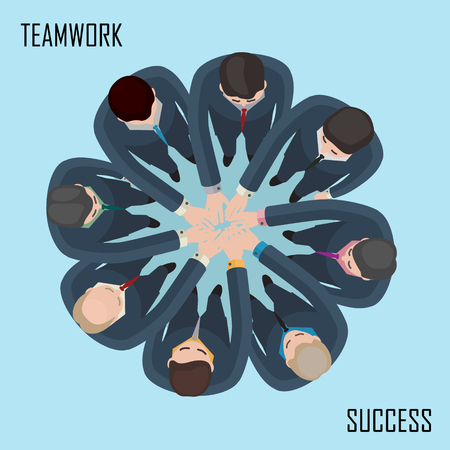 conceptual illustration of team work idea with people in suits