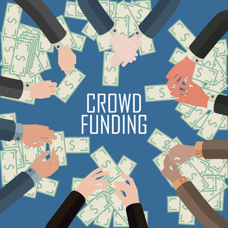 conceptual illustration of crowd funding idea or money game