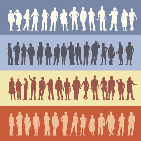 unrecognizable person: collection of 60 different standing people silhouettes