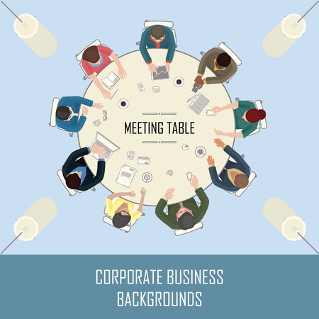 multi ethnic group: big round meeting table with people sitting around Illustration