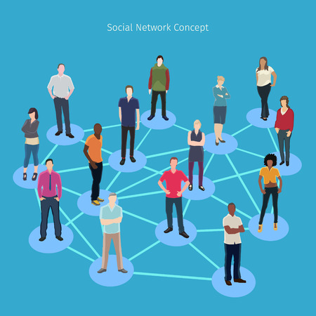 artistic woman: conceptual vector illustration with group of people connected to each other