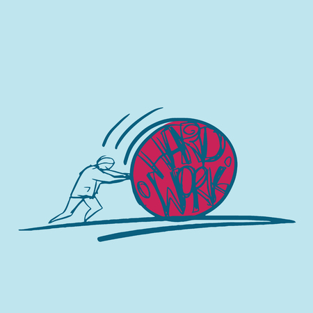 sisyphus: vector business hand drawn concept of hard work idea Illustration