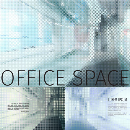 translucent: vector concept of a modern office stylized corridor interior build of tiny dots