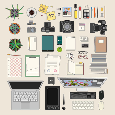 office stuff: huge vector set of modern office stuff including houseplants and computers