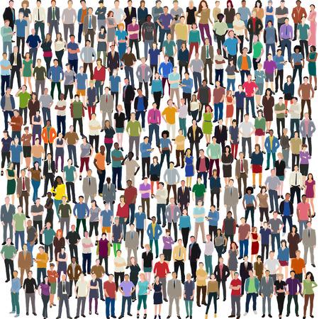 люди: вектор фон с огромной толпой различных постоянных людей