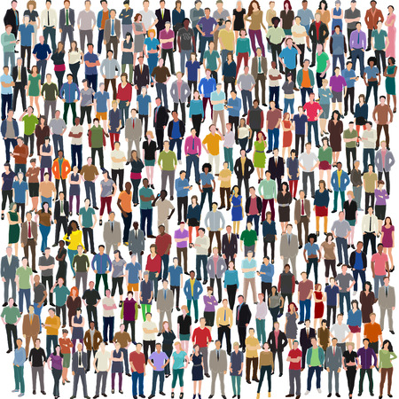 world group: vector background with huge crowd of different standing people