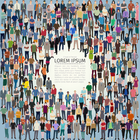 vector illustration with huge crowd of stylized people forming frame
