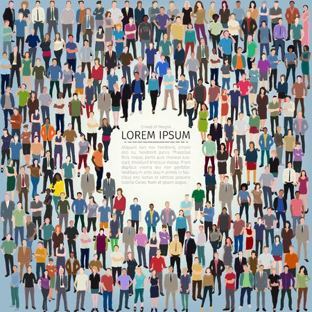 vector illustratie met enorme menigte van gestileerde mensen vormframe