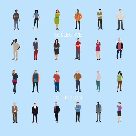 frontal: vector set of casual people standing frontal Illustration