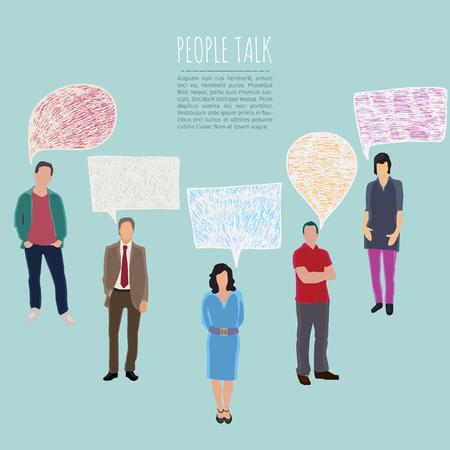 mobile phones: vector conceptual business illustration with talking people