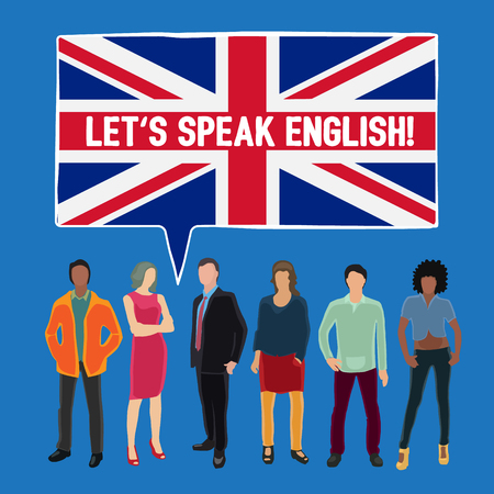conceptual vector illustration with people talking English