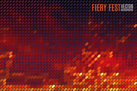 fiery: fiery festival vector background with blurred lights made of tiny vector particles