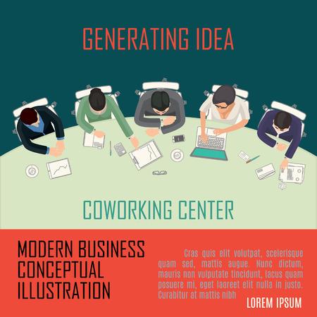 vecteur conceptuel solution moderne de processus de bureau illustration