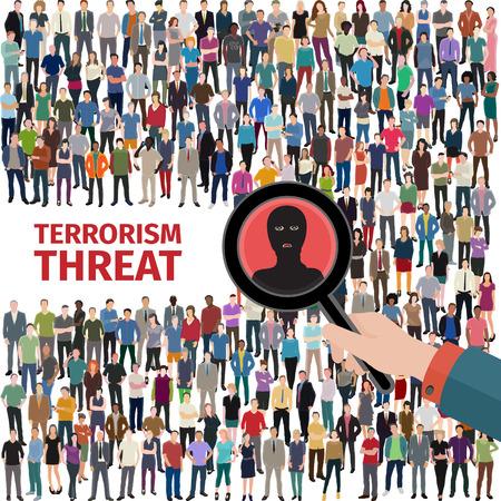 conceptuele vector afbeelding bij terroristische dreiging met een menigte van mensen