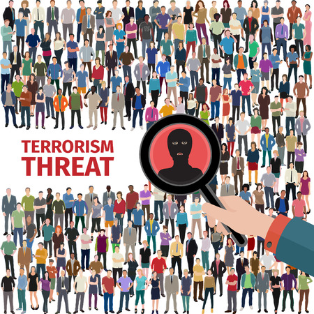 conceptual vector illustration at terrorism threat with crowd of people