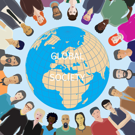 Large group of people adult casual with world globe on background Illustration