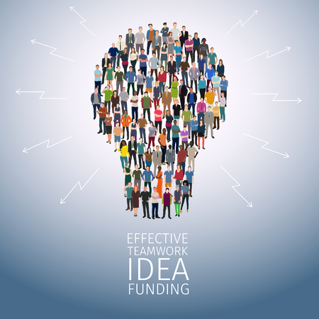 casual business team: idea concept with crowd of different casual people forming bulb shape
