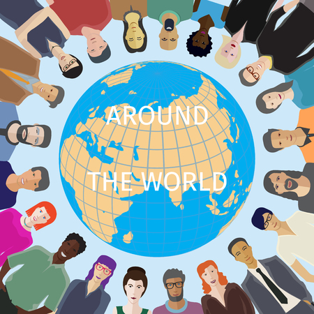 family human: Large group of people adult casual with world globe on background Illustration