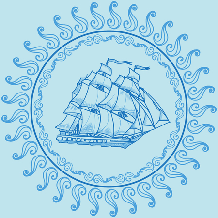 galley: hand drawn vector sailing ship linear illustration Illustration