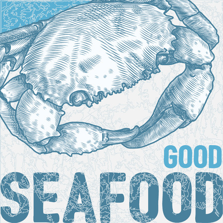 engravings: hand drawn vintage style sea crab card template Illustration