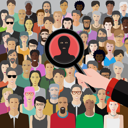 threat: conceptual vector illustration at terrorism threat with crowd of people