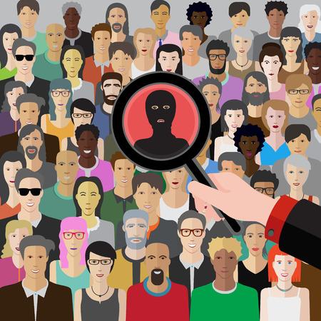 conceptuele vector afbeelding bij terroristische dreiging met een menigte van mensen Vector Illustratie