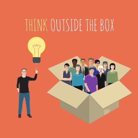 outside the box: vector conceptual illustration on the idea Thinking outside the box Illustration