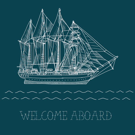brigantine: hand drawn vector sailing ship linear illustration Illustration