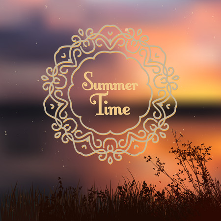 cool down: blurred summer sunset background with grass silhouettes in front and ornate vignette