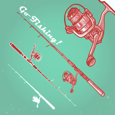 hand line fishing: hand drawn vintage style vector fishing rod