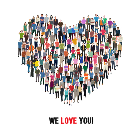casual people: crowd of casual people forming heart shape, conceptual illustration Illustration