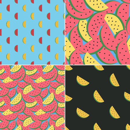 grooves: set of seamless textile patterns with watermelons