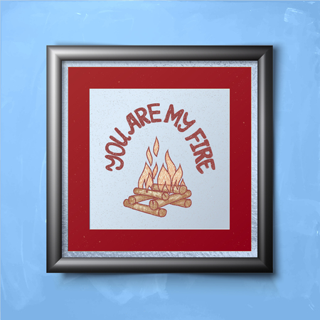 metal frame: motivation card in metal frame hanging on the wall, vector illustration