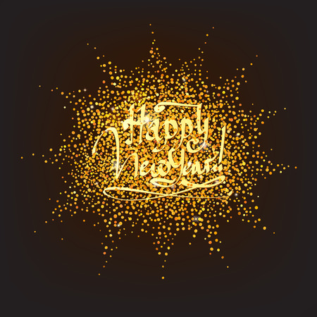 year greetings: sparkling golden confetti with Happy New Year greetings
