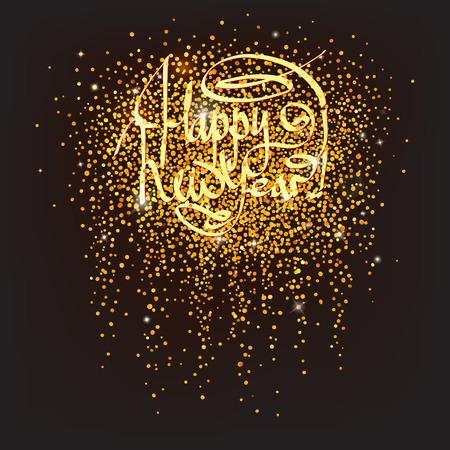 luxo: confetti dourado cintilante com cumprimentos do ano novo feliz Ilustração