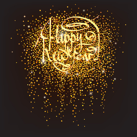 sparkling golden confetti with Happy New Year greetings