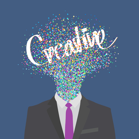 blow up: conceptual illustration of a creative business man generating ideas Illustration