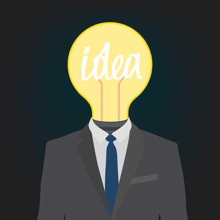 generating: conceptual illustration of a business man generating an idea