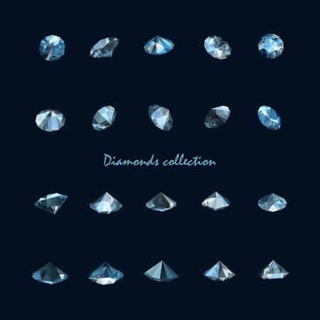 collection of twenty realistic vector diamonds isolated on black