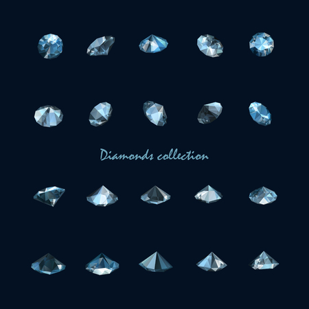 collection of twenty realistic vector diamonds isolated on black