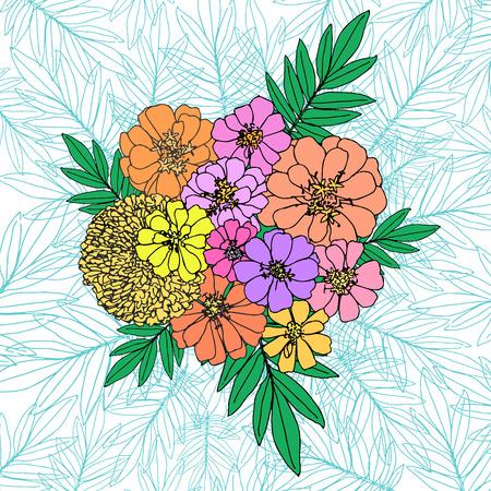 guileless: garden flower stylized bouquet top view vector composition Illustration