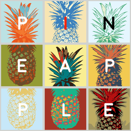 warhol: fun stylized tropical fruits, pop-art style backgrounds