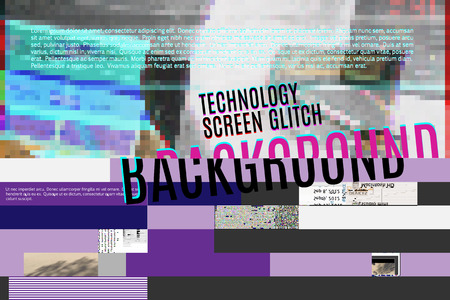 techology: vector screen glitch digital illustration, modern trendy design background Illustration