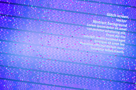 computer crash: blue screen with digital interferences, abstract vector background Illustration