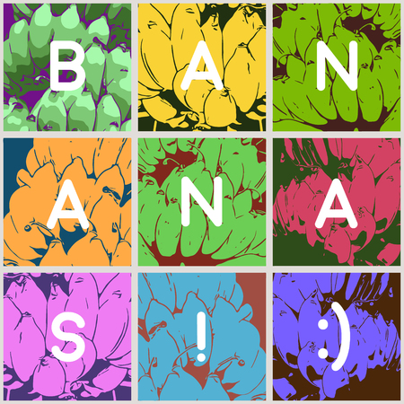 popart: fun stylized bunch of bananas, pop-art style backgrounds Illustration